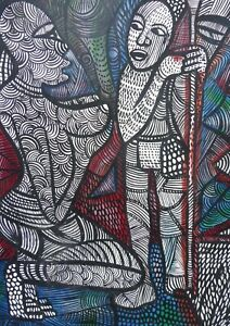 OIL MOTHER AND CHILD  AFRICAN LISTED ARTIST EMMANUEL OKUKU FREE SHIPPING ENGLAND