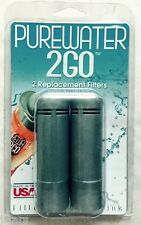 (2) PUREWATER 2GO 2 GO WATER FILTER REPLACEMENT CARTRIDGES for ECO BOTTLE, NEW
