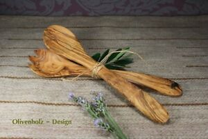 Salatbesteck aus Olivenholz 30 cm Holz