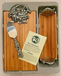 "Arthur Court ~ 2005 ""Grape"" 3 Piece Bamboo & Aluminum Cheese Board Set ~ NIB"