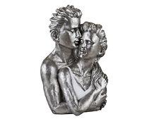 Exklusive Deko Büste Skulptur Paar aus Keramik weiß/silber Höhe 38 cm