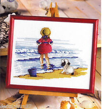 Permin 12-2153 Little girl to beach Kit counted + Stumpwork