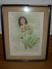 Antique Framed Print - Girl In Chair - WONDERMENT - Twinkle Twinkle Little Star