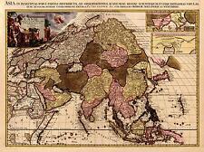 Riproduzione antico vecchio colore mappa dell' Asia continente asiatico Cina India Pakistan NUOVO