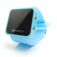 LED RETRO FASHION DIGITAL MENS/LADIES/GIRLS/BOYS JELLY WRIST WATCH Light Blue