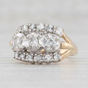 Vintage 0.40ctw Diamond Cluster Ring 14k Yellow White Gold Size 4.5
