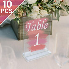 10Pcs Clear Acrylic Wedding Table Numbers with Stand Table Place Card Holder