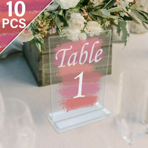10Pcs Clear Acrylic Signs Wedding Table Numbers with Stand Card Holder Decor