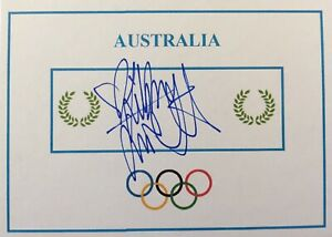 Libby Trickett SIGNED Olympic Games card. 4x Swimming GOLD & WORLD RECORD!