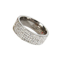 Women Titanium Stainless Steel Bling Crystal Rhinestone Unique Band Ring