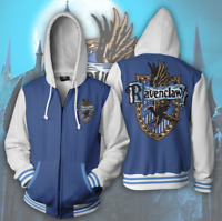Harry Potter Ravenclaw 3d Print Zip Hoodie Jacket Quidditch Unisex Fashion Coat