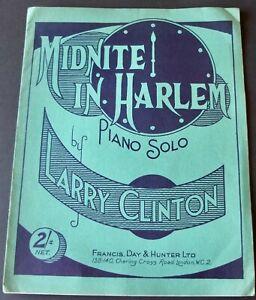 LARRY CLINTON MIDNITE IN HARLEM JAZZ PIANO SHEET MUSIC (1937) ENGLAND