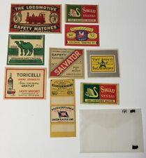Vintage  MATCHBOX  LABELS  lot of 9 labels Misc LARGE wooden match box labels