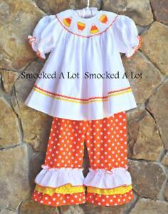 Smocked A Lot Girls Candy Corn Halloween Fall Orange Pumpkin Pants Set Outfit