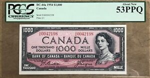 1954 Bank of Canada $1000 Banknote PCGS About New 53 PPQ - Cat#BC-44a - Rare
