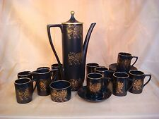 PORTMEIRION GOLD LION COFFEE TEA SET VINTAGE 1960's BLACK RETRO 24 PIECE