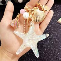 Cute Starfish Pearl Shell KeyChain Crystal Pendant Charm Keyring Keyfob Gift