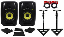 """(2) KRK VXT-6 6"""" Powered Studio Monitors+Stands+Mopad Isolation Pads+Cables"""