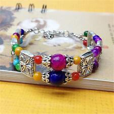 New handmade fashion Tibetan silver jewelry Multi-Color bracelet bangle bead