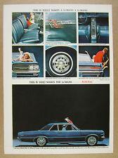1964 Pontiac LeMans 326 V8 Hardtop Coupe blue car photo vintage print Ad