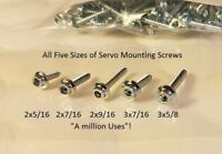 Servo Mounting Screws 100 pcs. each #2x5/16, #2x7/16, 2x9/16,  #3x7/16, #3x5/8