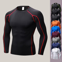 Mens Compression Under Base Layer Top Tight Long Sleeve T-Shirts Cycling Sports