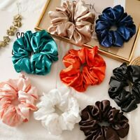 Women Faux Silk Satin Scrunchie Elastic-Hairbands-Girls Hair Rope Tie