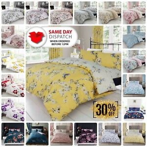 BIRDIE BLOSSOM FLOWER DUVET COVER SET QUILT REVERSIBLE WITH PILLOW CASE ALL SIZE