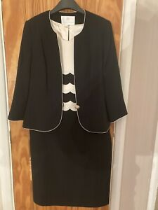 Ladies Jacques Vert Dress And Jacket Black And Cream Size 14 Worn Once