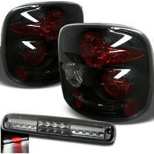 For 99-04 Silverado/Sierra StepSide Blk Smoke Tail Lights + LED 3rd Brake Cargo