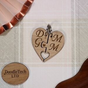 Personalised Couples Love Heart Puzzle Keyrings Laser Cut, Engraved, Gift Her, x