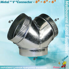"3 Ways 8""-6""-6"" Ventilation Ducting Y Connector Hydroponics Metal Y Duct Joiner"