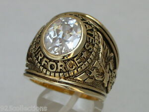 United States Air Force Military April Clear CZ Birthstone Men's Ring Size 7-15
