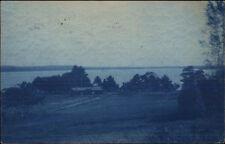 Winthrop ME Trolley 1906 Cyanotype Real Photo Postcard spg