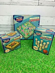 Retro Games 3 Different Skittles Snakes and Ladders Flower Press Travel Holiday