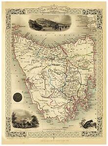Old Vintage Map of Tasmania richly illustrated Tallis 1851