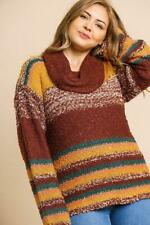 Multicolor Striped Fuzzy Knit Long Sleeve Pullover Sweater