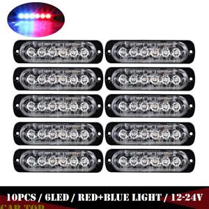 10 x Red Blue 6LED Car Truck Emergency Beacon Warning Hazard Flash Strobe Light