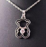 Silver/Black Rhinestone Teddy Bear Pendant Necklace w/Free Jewelry Box and Ship