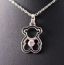 Silver/Black Rhinestone Teddy Bear Pendant Necklace w/Free Jewelry Box and Ship