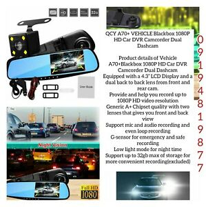 VEHICLE Blackbox 1080P HD Car DVR Camcorder Dual Dashcam