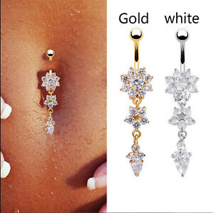 Crystal Flower Dangle Navel Belly Button Ring Bar Body Piercing Jewelry GTAEBHF