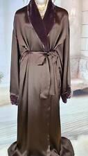 Luxury Pure Silk & Plush Velvet Shiny Robe Dressing Gown UK 18 Worn  [G86