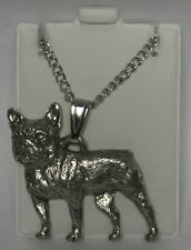 French Bulldog Dog Harris Fine Pewter Pendant w Chain Necklace USA Made