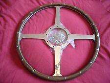 "CLASSIC 4 WOODRIM STEERING WHEEL MOTO-LITA 15"" FLAT 4 SPOKE JAGUAR, MGA  AC,"