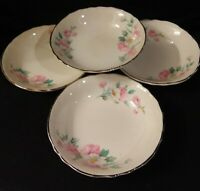 "4 Vintage Homer Laughlin Fruit/Dessert 5"" Bowls Platinum Edge Pattern R3543"