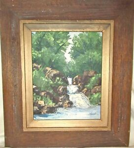 Vintage Original Framed Oil Painting by Mary Lois O'Neal - Waterfall