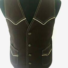 Lee Men's Vintage Horse Sleeveless Brown Western Vest Size 42R