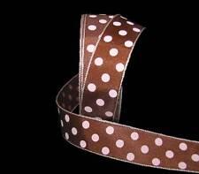 "5 Yards Brown Pink Polka Dot Polyester Ribbon 7/8""W"