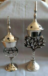 Incense burner; censer; pagan; wicca; tree of life; pentagram